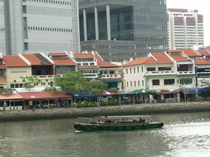 Singapore office block on Singapore river, green garden