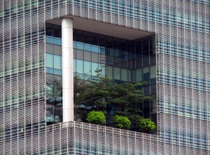 Singapore office block on Singapore river, green garden close up