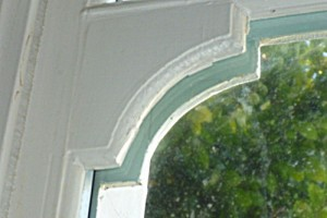 Double glazing sash window frame closeup