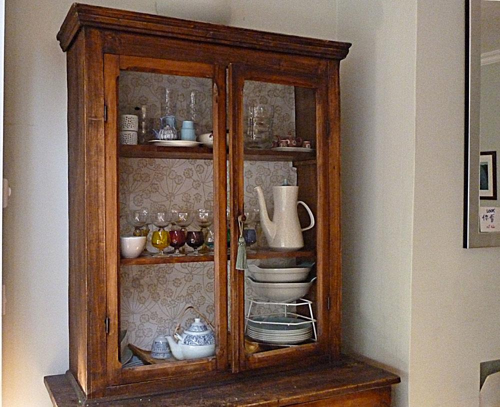 Wallpaper background inside furniture - cupboard dresser