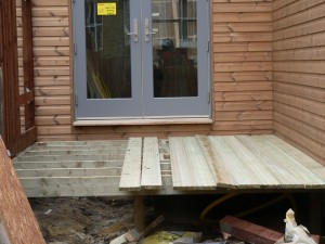 Close up of decking area