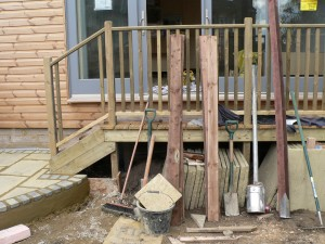 Finishing the wooden step railings