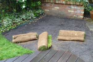 Rolls of turf - usually 1 square metre/yard